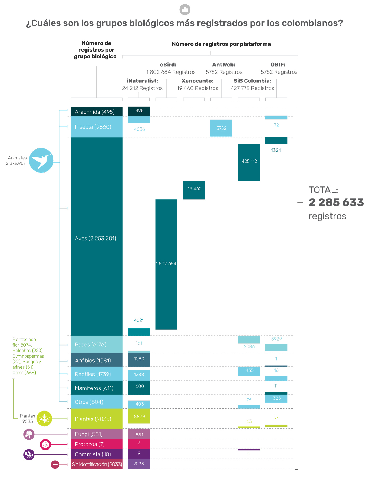 ¿Cuáles son los grupos biológicos más registrados por los colombianos?