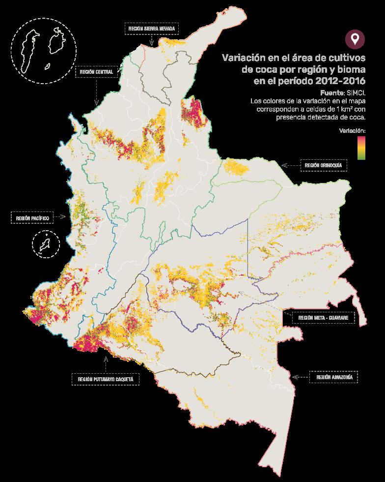 Mapa: Variación del área de cultivos de coca por región y bioma en periodo 2012-2016