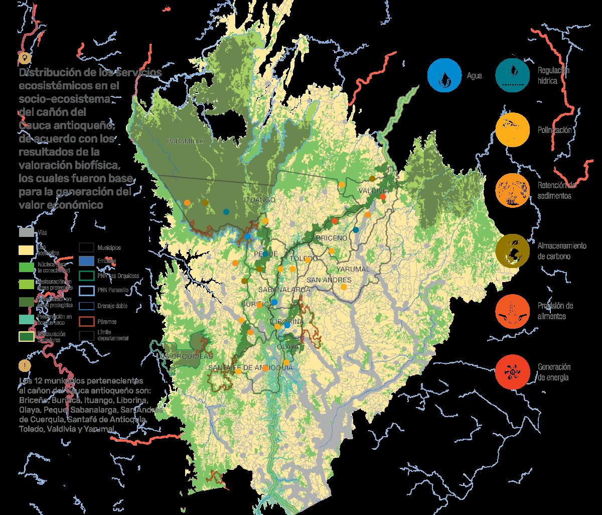 Distribución de los servicios ecosistémicos en el socio-ecosistema del cañón del Cauca antioqueño, de acuerdo con los resultados de la valoración biofísica, los cuales fueron base para la generación del valor económico